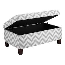 ottoman bench with arms grey white chevron stripe padded storage ottoman bench