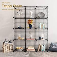 amazon com tespo metal wire storage cubes modular shelving grids