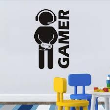 Gamer Home Decor Wall Stickers Black Dsu Video Game Wall Sticker Vinyl Art Mural