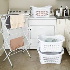 Changing Table Accessories White Stackable Laundry Basket With Grey Handles The Container Store