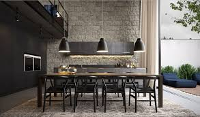 esszimmerlen design moderne industrial esszimmer design in schwarz mit fliesen steinwand