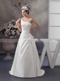 one shoulder wedding dress pleated one shoulder princess cut satin wedding gown