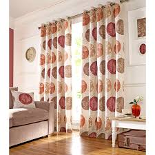 Living Room Curtains On Ebay Brightwood Fully Lined Curtains Floral Eyelet Beige Red U0026 Orange