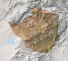 Zimbabwe Map Zimbabwe Shaded Relief Map Surrounding Territory Greyed Out