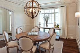 round farmhouse dining room rustic with neutral colors fabric shade