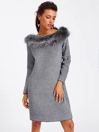 fur sweater faux fur neck textured sweater dress shein sheinside