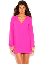bright pink backless cut out blouson long sleeve party shift