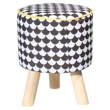 tati canapé tabouret assise noir jaune 3 pieds bois objets du désir