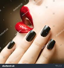 makeup manicure black nails red lips stock photo 118637380