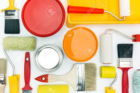 Orange Accessories Various Painting Tools And Accessories For Home Renovation On
