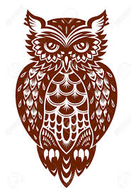 brown owl in ornamental style for mascot or another design royalty