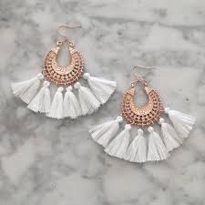 white earrings earrings statement drop blush tassel earrings white