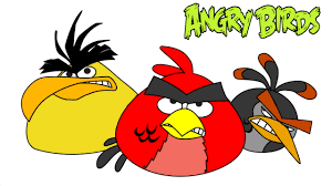angry birds coloring pages with red bird chuck and bomb colouring