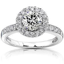 moissanite bridal reviews moissanite engagement ring with halo diamond 1 1 4 ctw 14k