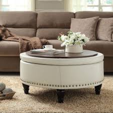 large round leather ottoman coffee tables round leather storage ottoman coffee table tray