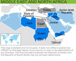 middle east map united nations unicef humanitarian for children middle east and