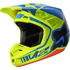 motocross helmets closeouts fox yellow blue v2 nirv helmet 17371 586 xs atv dirt bike