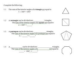 The Sum Of Interior Angles Gr 9 Math Interior Angles Of Polygons One Stop Math Shop