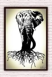 elephant trunk black u0026 white elephant w earth tree roots