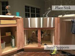how to install an apron sink in an existing cabinet apron sink install and kitchen remodel reveal sawdust 2