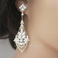 pearl chandelier earrings deco bridal earring gold wedding earrings rhinestone