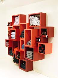 interesting minimalist modular bookshelf design in red furniture