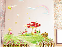on sale diy removable mushroom flowers garden wall stickers for