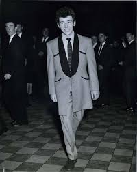 Teddy Boy Drape Bob Corbett 17 Of Liverpool Wears A Silver Grey Suit With Black