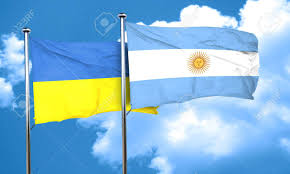 Ukraine Flag Ukraine Flag With Argentine Flag 3d Rendering Stock Photo