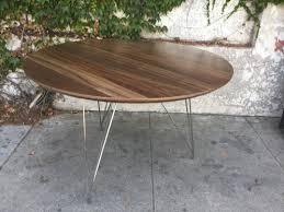 vintage hairpin table legs round walnut kimberly dining table w hairpin legs sunbeam vintage