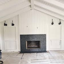 modern farmhouse living room with vertical shiplap crag black