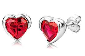 byjoy jewellery byjoy 925 heart shape ruby stud earrings co uk jewellery