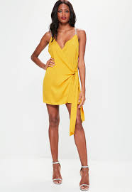 yellow dress yellow wrap tie diamante shift dress missguided