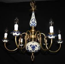 Blue Delft Chandelier Vintage Flemish Delft Chandelier Blue White Ceramic Ceiling
