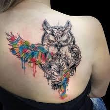 tattoo girl owl colorful simple owl tattoo on girl upper back golfian com