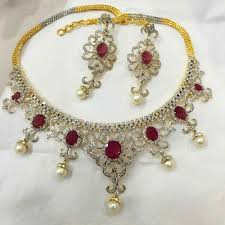 bridal necklace earrings images Exclusive ruby bridal necklace earrings gleam jewels jpg