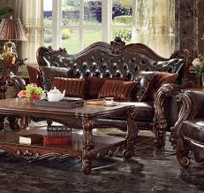 acme 3pc sofa set antique cherry classic hot sectionals 52120 sf