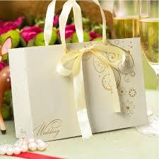 wedding gift bag chagne color ribbon bowtie party favor holder wedding gift bag