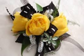 and black corsage yellow spray roses with black corsage in teaneck nj tiger