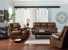 Contemporary Reclining Sofa With Topstitch by Brown Reclining Sofa
