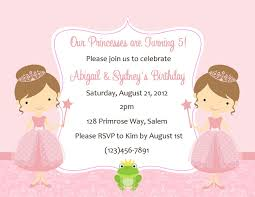 Free First Birthday Invitation Cards Twin Princess Birthday Invitations Card Invitation Ideas Card