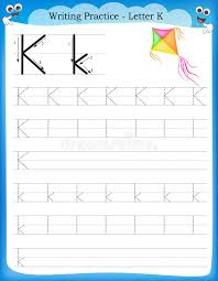 writing practice letter k stock vector image 50726522