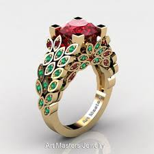 ruby emerald rings images Art masters nature inspired 14k yellow gold 3 0 ct rubies emerald jpg