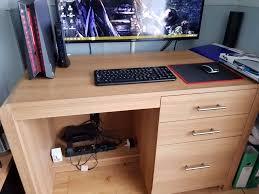 heart of house elford 3 drawer office desk oak effect in