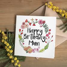 floral u0027happy birthday mum u0027 card by ivorymint stationery