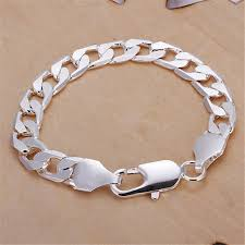 silver plated bracelet chain images Classic 6mm 8mm 10mm flat men bracelet silver plated bracelets new jpg
