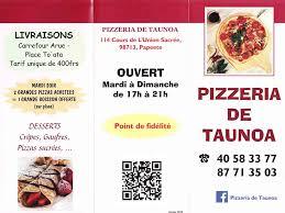 cours de cuisine 77 votre menu dépliant pizzeria de taunoa
