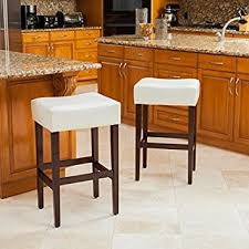 amazon com duff backless ivory leather counter stools set of 2