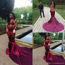 2017 mermaid prom dresses burgundy long sleeves lace backless