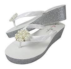 wedding flip flops glitter bridal flip flops with pearl rhinestone